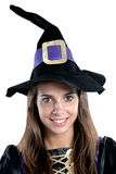 Pretty girl with witch costume Royalty Free Stock Images