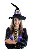 Pretty girl with witch costume royalty free stock photos