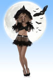 Pretty girl in witch dress Stock Images