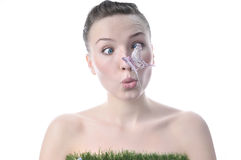 Pretty Girl With A Butterfly On Her Nose Stock Photography
