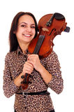 Pretty Girl With Violin Stock Photography