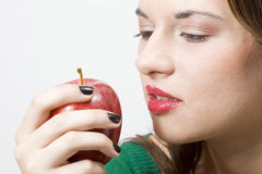 Pretty girl witth healthy apple Royalty Free Stock Photos