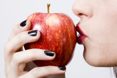Pretty girl witth healthy apple Royalty Free Stock Image