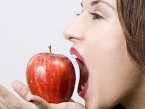 Pretty girl witth healthy apple Stock Photos