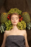 Pretty girl woman model with fruits Royalty Free Stock Images