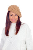 Pretty girl with wool hat Stock Images