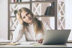 Pretty girl working on project Royalty Free Stock Images