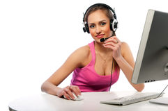 Pretty girl works on a computer Royalty Free Stock Image