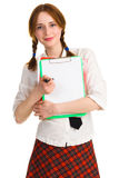 Pretty girl with a worksheet Royalty Free Stock Image