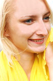 Pretty girl in yellow blouse. Royalty Free Stock Images