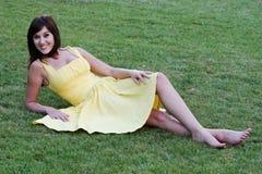 Pretty Girl in Yellow Dress Royalty Free Stock Photo