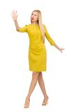 Pretty girl in yellow dress isolated on the white Stock Photography