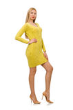 Pretty girl in yellow dress isolated on white Stock Photo