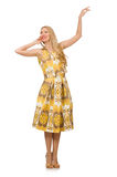 Pretty girl in yellow floral dress isolated on. The pretty girl in yellow floral dress isolated on white Royalty Free Stock Photography