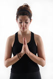 Pretty girl in yoga time Royalty Free Stock Photography