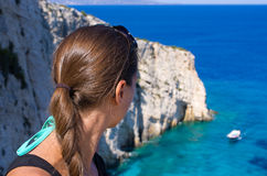 Pretty girl on Zakynthos island, Greece Stock Photography