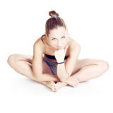 Pretty girll make her yoga exercise Royalty Free Stock Photography