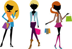 Pretty girls with bags Stock Photography