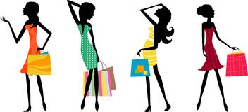 Pretty girls with bags Royalty Free Stock Photos