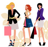 Pretty girls with bags Stock Images