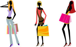 Pretty girls with bags  e Stock Image
