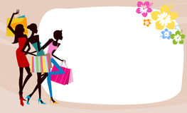 Pretty girls with bags and frame Royalty Free Stock Images