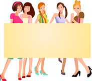 Pretty girls with banner stock illustration
