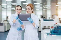Pretty girls being well equipped. Close friends. Smiling female medical workers standing on the foreground holding tablet while looking at its screen Stock Photos