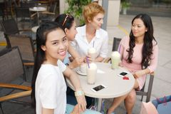 Pretty girls in a cafe Stock Photo