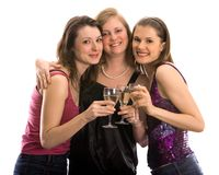 Pretty girls celebrating. Isolated on white Royalty Free Stock Photos