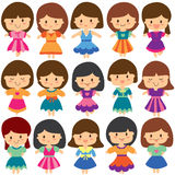 Pretty girls clip art set. Young cute girls with dresses clip art set Royalty Free Stock Images