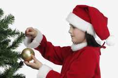Pretty Girls decorating X-mas tree Royalty Free Stock Photo