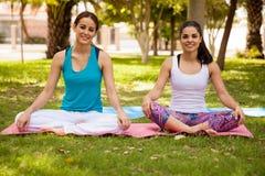 Pretty girls doing yoga Royalty Free Stock Image