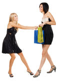 Pretty girls fighting for purchase royalty free stock photos
