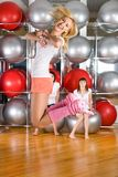 Pretty girls in fitness center Royalty Free Stock Image