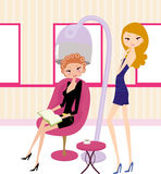 Pretty girls in hairdressing salon Royalty Free Stock Photography