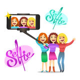 Pretty girls making self portrait. Vector illustration. Stock Photo