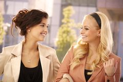 Pretty girls outdoor laughing Royalty Free Stock Photography