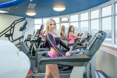 Pretty girls posing while exercising at gym Stock Photography