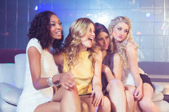 Pretty girls posing and smiling Royalty Free Stock Photo