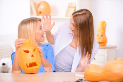 Pretty girls preparing for Halloween party Royalty Free Stock Image