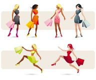 Pretty girls shopping. Illustration of gorgeous shopping women with shopping bags Royalty Free Stock Photos