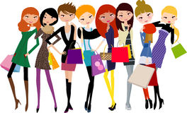 Pretty girls with shopping bag Royalty Free Stock Images