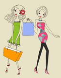 Pretty girls with shopping bag Stock Images