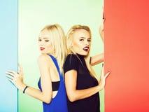 Two pretty girls pose royalty free stock photos
