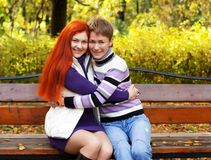 pretty girls walking in autumn park Stock Photography