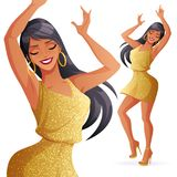 Pretty glamorous young dancing woman in golden dress with glitter. stock illustration