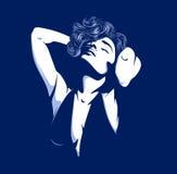Pretty glamour women silhouette. On dark Royalty Free Stock Photos