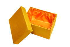 Pretty gold gift box Stock Images