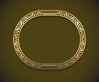 Pretty gold unusual oval frame with shadow on dark background fo Royalty Free Stock Images